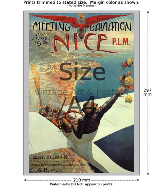 Meeting d/' Aviation Nice Vintage Aviation Print 6 sizes, matte+glossy avail