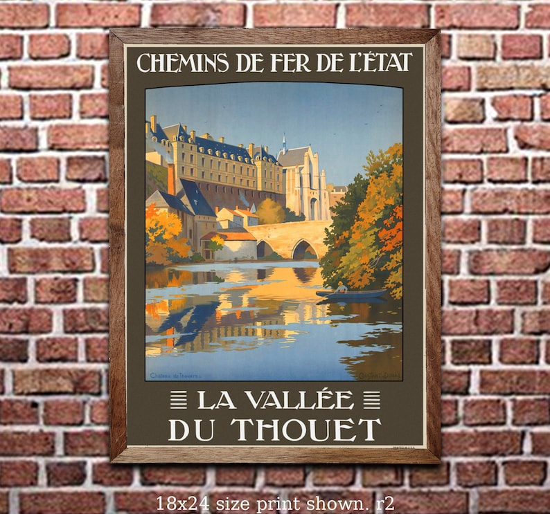 6 sizes matte+glossy avail Chateau d Amboise Vintage French Rail Travel Poster