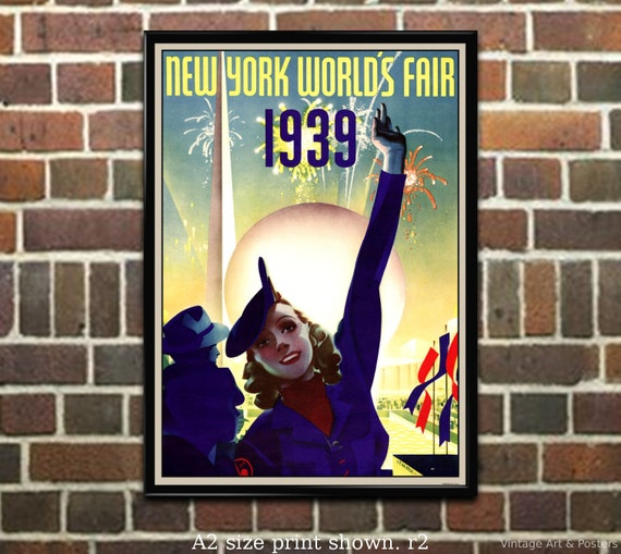 1939 New York Worlds Fair #1 Art Deco Poster 4 sizes, matte+glossy avail