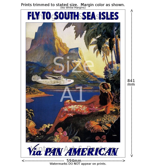 6 sizes, matte+glossy avail Flying Down to Rio Airline Travel Poster Pan Am