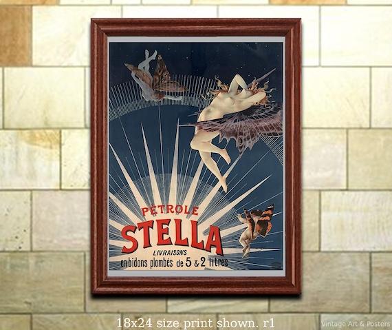 Art Deco Poster//French//Petrole Stella Livrasion//vintage reproduction