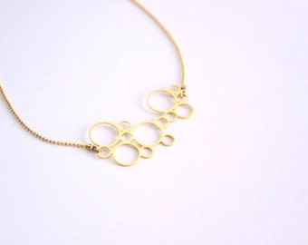 Mid-long bubbles necklace, gold filled