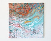 Sedona 8x8 - Acrylic Pour Painting, Abstract Painting, Acrylic Pour Art, Wall Hanging 8x8