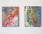 Color Explosion Diptych - Two, 8x10s - Acrylic Pour Painting, Abstract Painting, Acrylic Pour Art, Wall Hanging 8x10