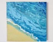 Life's a Beach 10x10 - Acrylic Pour Painting, Abstract Painting, Acrylic Pour Art, Wall Hanging 10x10