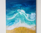 Rip Tide 16x20 - Ocean Resin Art on Canvas with Real Sand, Resin Artwork, 16x20 Wall Hanging