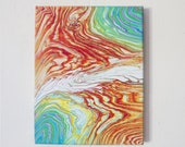 Lava River 8x10 - Acrylic Pour Painting, Abstract Painting, Acrylic Pour Art, Wall Hanging 8x10