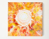 Sunny Vibes 8x8 - Acrylic Pour Painting, Abstract Painting, Acrylic Pour Art, Wall Hanging 8x8