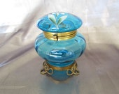 Antique French Jewelry Box, Enamelled Glass Box, Victorian Jewelry Box
