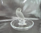 Lalique French Ring Disk, Crystal Partridge figurine, Trinket Bowl