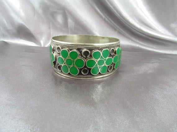 Ethnic Enamelled Bracelet Silver Bronze, Vintage E