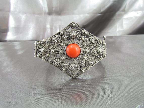 Vintage Ethnic Filigree Bracelet , Sterling Silver