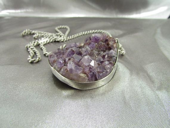 Amethyst Silver Necklace, Antique Silver Amethyst