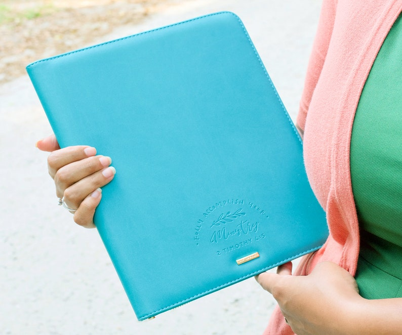 JW Ministry Magazine Organizer : Teal, JW ministry supplies, JW organizer,  faux leather organizer, gold zippers, tablet holder
