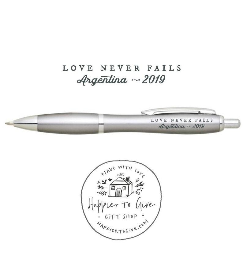 International Convention Pens - 22 Locations - Love Never Fails - Light  Matte Silver - JW 2019 International Convention Gifts