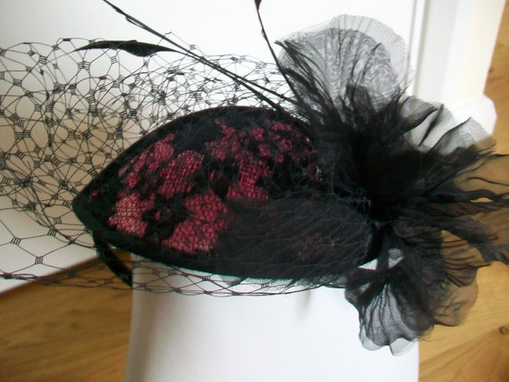Vintage Black and Pink Fascinator