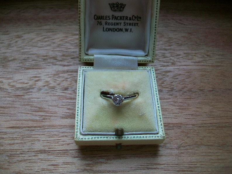 Size M SALE Antique Diamond Solitaire 9 CT Yellow Gold and Platinum