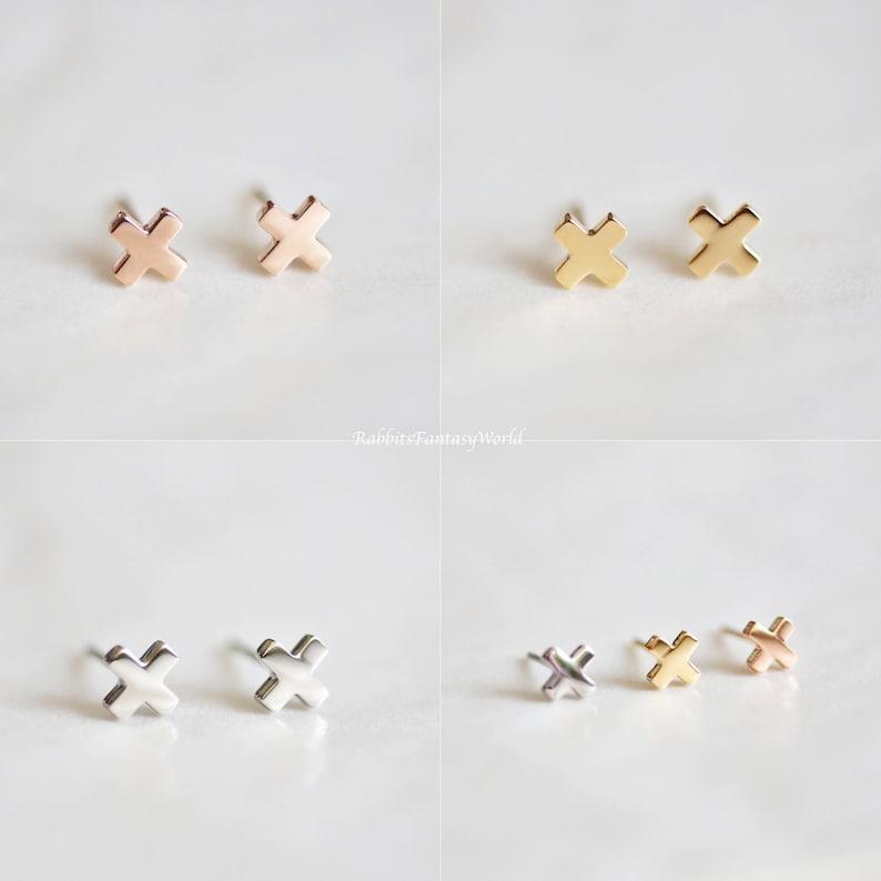 Cross Stud Earrings Tiny Plus Earring Cross Swiss Cross image 0