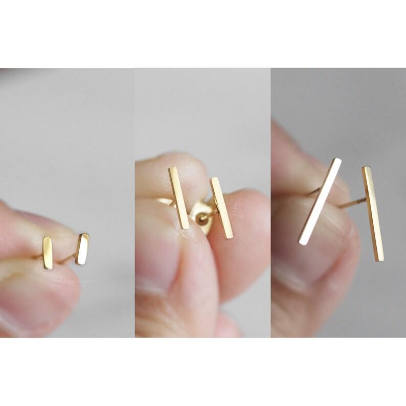 Bar Earrings Titanium Earrings Anodized Titanium Anodised image 0