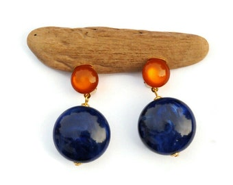 Small Blue Drop Earrings, Clip on Earrings, Vintage Style Blue Dangle Earrings, Round Earrings, Blue Retro Style Earrings, Gift for Her
