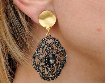 Clip on earrings Charcoal Black Gray, Ethnic Bridal, Victorian Statement Grey CZ Rhinestone Teardrop Clip on Earring, Bridal Non Pierced