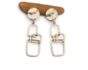 Large Textured Silver Dangle Clip on Earrings, Ethnic Silver Plated Textured Zamak Earrings, Boho Earrings, Bohemian Jewellery