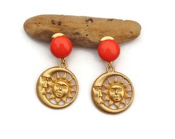 Dangling Gold Sun and Moon Face Drop Dangle Earrings, Clip on Earrings, Sun Face Earrings, Boho Earrings, Celestial Earrings