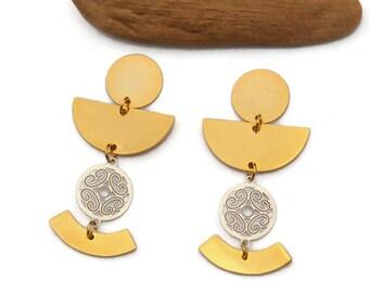 Gold and Silver Geometric Earrings, Clip on Earrings, Mixed Metal Dangle Earrings, Modern Simple Earrings, Statement Drop Earrings