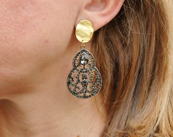 Charcoal Black Gray Chandelier Clip on Earrings, Bridesmaid Earrings, Ethnic Bridal, Victorian Statement Grey CZ Rhinestone Teardrop Earring