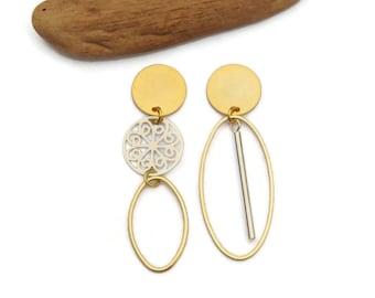Gold and Silver Asymmetrical Drop Earrings, Clip on Earrings, Dangle Mismatched Earrings, Mixed Metal Boho Earrings, Long Fashion Earrings