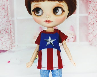 Handmade T-shirt for Blythe / Icy / Pullip / Azone / Momoko / Obitsu Fashion Doll - dress / clothes / outfit 01282 CAPTAIN AMERICA