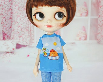 Handmade T-shirt for Blythe / Icy / Pullip / Azone / Momoko / Obitsu Fashion Doll - dress / clothes / outfit 01293 Beach Molang