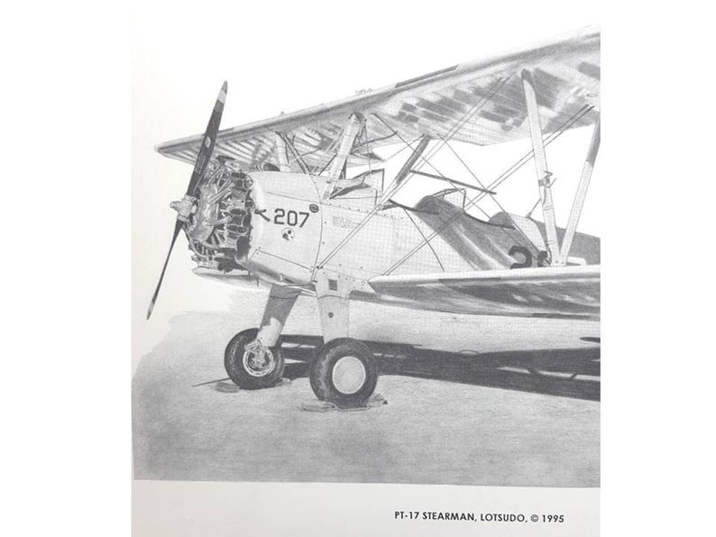 PT-17 Stearman Biplane Pencil Drawing Print For Home Ofice Decor Flyer  Christmas Gift For Men Women Gift Under 10