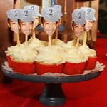 Birthday Photo cupcake toppers. Train conductor themed