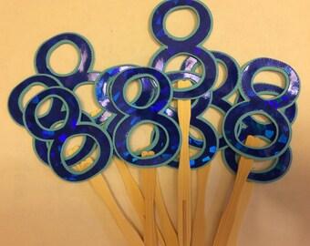 Metallic prism logo cupcake toppers.