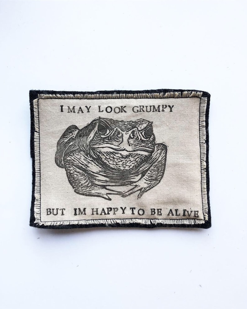 Handmade Iron On Patch Toad Patch image 0