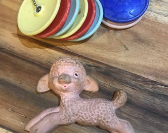 Vintage baby rattle and plakie teether. As is from auction.