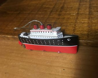 Tin cruise liner ornament. Boat, naitical.