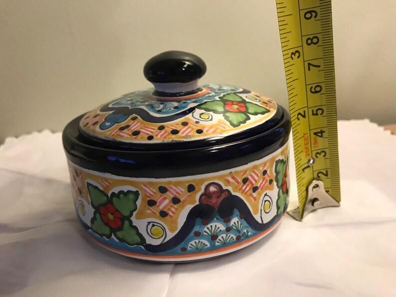 Mexico Vintage hand painted pottery trinket box Pue Hernandez