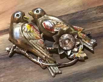 Vintage bird brooch. Love birds, turtle doves.