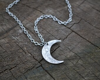 Crescent necklace, simple sterling crescent necklace, simple sterling crescent pendant, simple sterling moon necklace, surgical steel chain