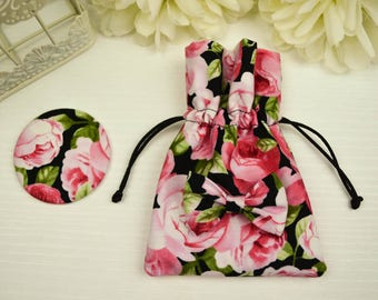 Floral Pocket mirror with pink and black pouch
