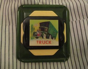 OOAK Truck/Bus Large Lenticular Brooch