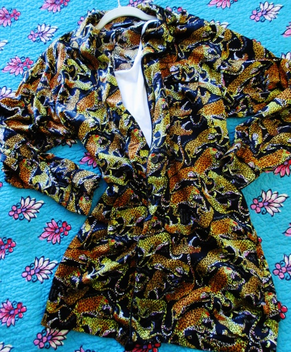 popular style various styles affordable price ON SALE! Vintage NIcole Miller 100% Silk Print - Lingerie Big Shirt -  Leopards - M