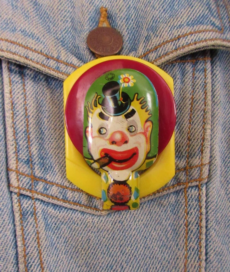 COOL! made from vintage pieces OOAK The Joker Pin