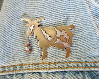Vintage 1993 Cindy Harley Mixed Metals Goat with Soup Can Brooch