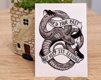 Mini Print - Shed your past but keep its lessons - Illustrated snake collectable print