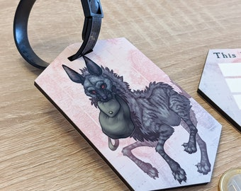 Travel Tag: Striped Hyena (illustrated luggage tag for backpacks, bags, suitcases, and more)