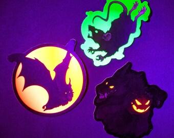 GLOWING Blacklight Halloween Stickers - Werewolf with Jack-O-Lantern, Moonlit Bat, and Plague Rat