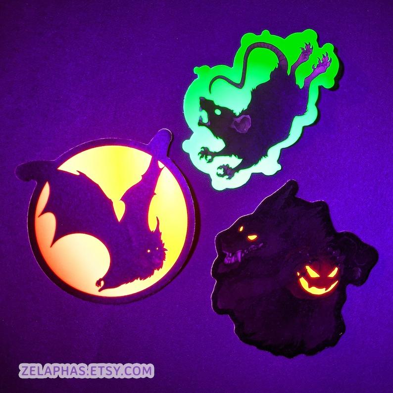 GLOWING Blacklight Halloween Stickers  Werewolf with image 0